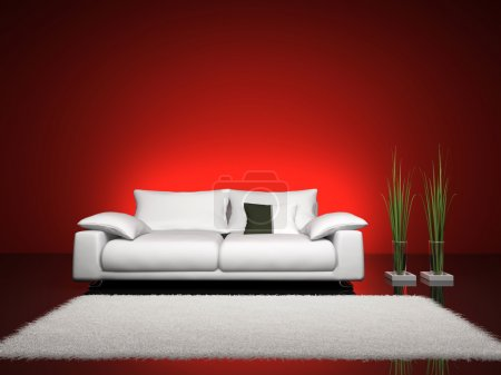Fashionable interior with red wall