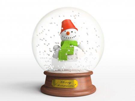Smiling snowman in snow globe