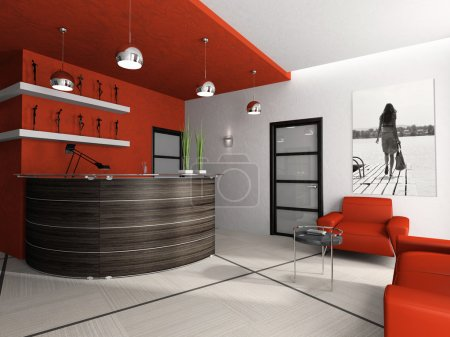 Reception room in office