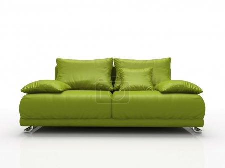 Photo pour Canapé en cuir vert isolé sur fond blanc - image libre de droit