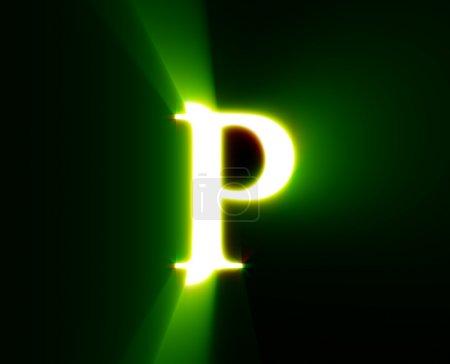 P, brillo, verde