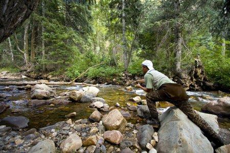 Photo pour Pêcheur en rivière pêche à la mouche dans les Canyons - image libre de droit