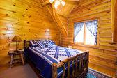 gros plan sur une chambre à coucher dans une cabane