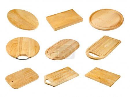 Photo for Various wooden cutting boards isolated on white - Royalty Free Image