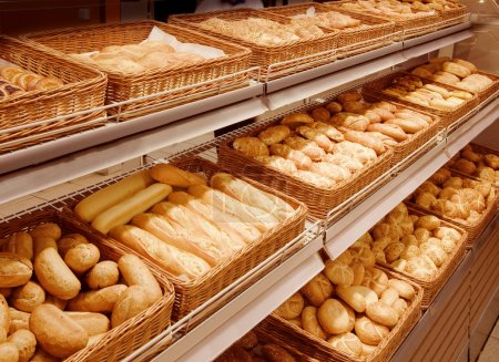 Photo for Variety of baked products at a supermarket - Royalty Free Image