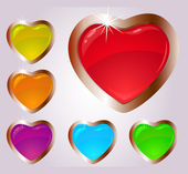 Colorful heart shaped glass vector
