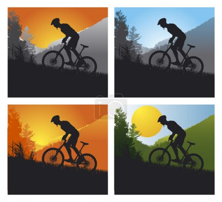 Mountain bike set with man and bike