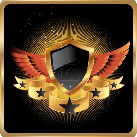 Gold retro shield vector background