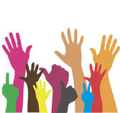 Hands up colorful background poster or card