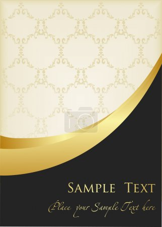 Illustration for Vintage background golden frame with copy space vector for poster - Royalty Free Image