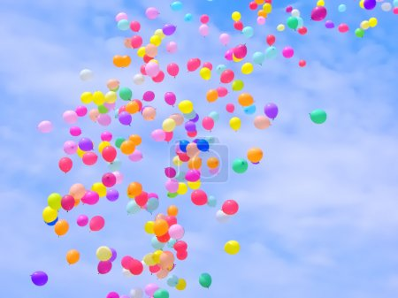 Photo for A lot of colorful balloons flying in the sky - Royalty Free Image