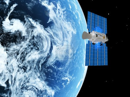 Photo pour Terre planète bleue et satellite dans l'espace. - image libre de droit