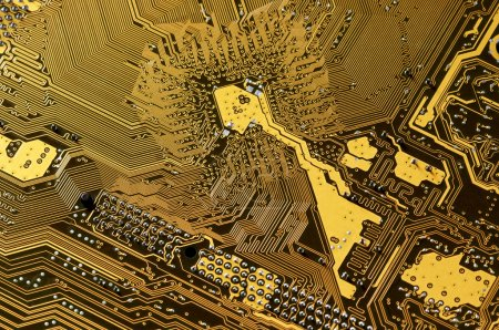 Photo for Computer part: downside of circuit board close-up. - Royalty Free Image