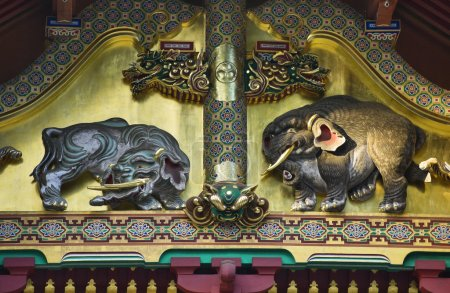 Elefants bas-relief In Shinto Shrine