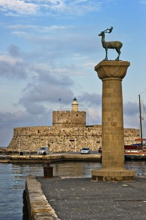 Lighthouse And Deer Statue, Rhodes