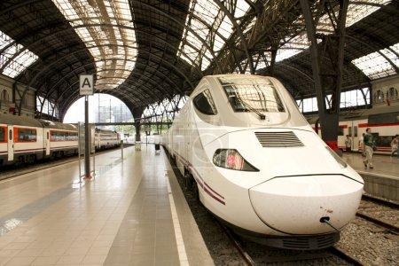 Alvia train in France station, Barcelona, Spain...