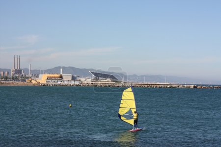 View of the coast of Barcelona city