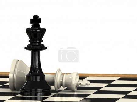 Photo for A check mate from a chess king to another on a checkboard - Royalty Free Image