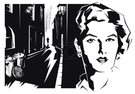 Illustration for Dark, city, girl, woman, street, face - Royalty Free Image