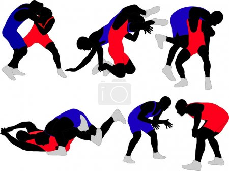 Wrestlers silhouettes