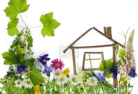 Photo pour Application de benfants, collage sur une page blanche de fleurs. le concept de maison bel confortable. - image libre de droit