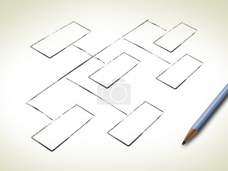 Photo for Hand Drawing Blank Organization Chart - Royalty Free Image