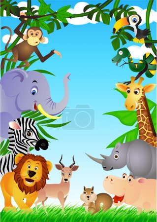 Photo pour Vector illustration of funny animal cartoon in the jungle - image libre de droit
