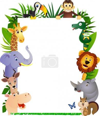 Funny animal cartoon frame