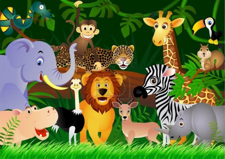Illustration for Vector illustration of animal in the jungle - Royalty Free Image