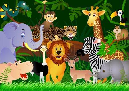 Photo pour Illustration vectorielle de l'animal dans la jungle - image libre de droit