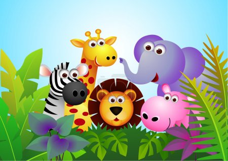 Illustration for Vector illustration of cute animal cartoon in the jungle - Royalty Free Image
