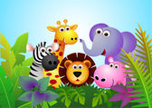 Vector illustration of cute animal cartoon in the jungle