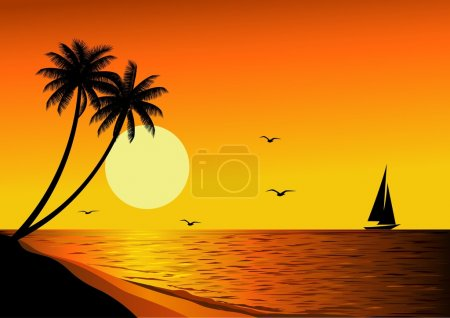 Illustration for Vector beach sunset - Royalty Free Image