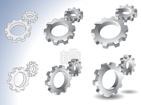 Illustration for 3d chrome gears isolated on white - Royalty Free Image