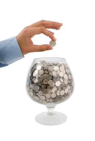 Put money into glass