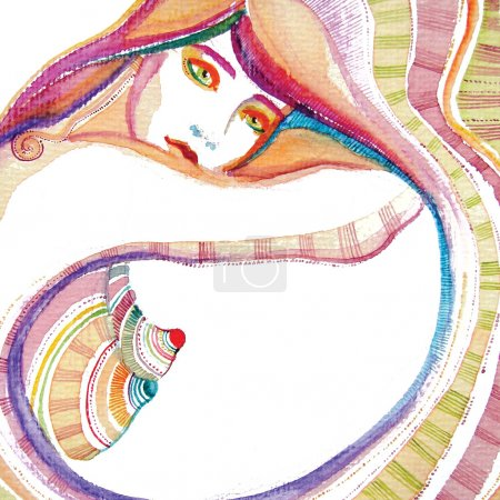 Photo for Illustrated abstract cute girl - Royalty Free Image