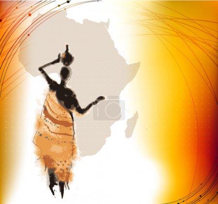 Photo pour Beau fond avec illustré abstrait femme africaine et carte de l'Afrique - image libre de droit
