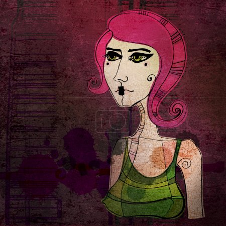 Illustrated cute girl