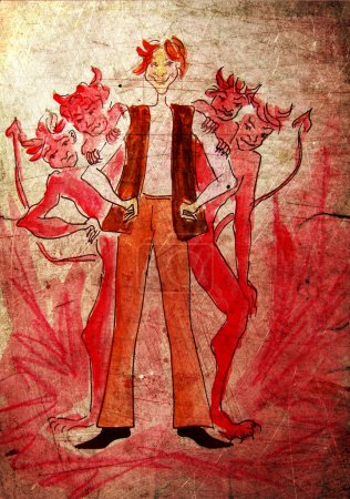 Illustrated boy with devils