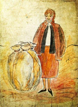 Photo pour Paysanne illustrée avec des sacs sur fond grunge - image libre de droit