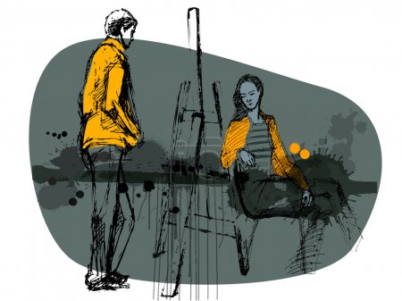 Foto de Niña ilustrado y niño con fondo grunge - Imagen libre de derechos
