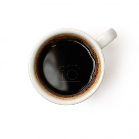 Photo for Top view of a cup of coffee isolated on white background - Royalty Free Image