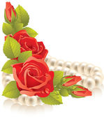 Vector red roses with pearls Illustration isolated on white background