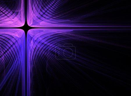 Photo pour Croix fractale violette abstraite sur fond noir - image libre de droit