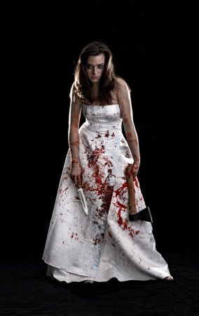 Portrait of woman covered with blood