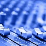 Equipment recording studio in blue colour...