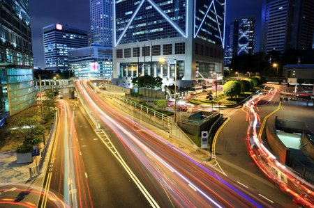 Photo for Rush Hour Hong Kong Cityscape at Night - Royalty Free Image