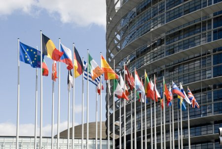 Photo for Europarliament. Flags of the countries of the European Union at an input in Europarliament - Royalty Free Image