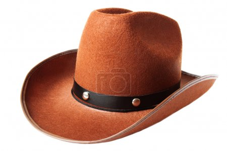 Photo for Brown cowboy hat isolated over white - Royalty Free Image