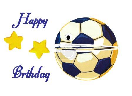 Photo pour Belle carte d'anniversaire de football joyeux - image libre de droit